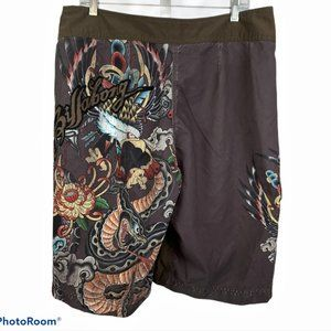 Billabong Swim - BILLABONG Mens 36 Brown Board Shorts Skulls Eagle